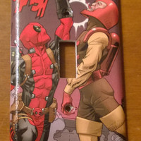 Comic Book decoupage Deadpool  Paste Pot Pete Trapster light switch cover