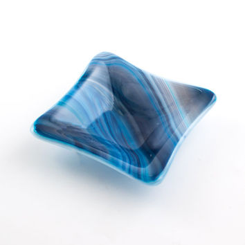 Blue Swirl Ring Dish, Fused Glass, Jewelry Holder, Spindle Bowl, Condiment Server, Trinket Tray, Catch All, Unique Gifts for Women