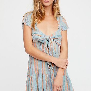FP One Maia Striped Wrap Mini Dress