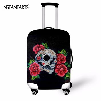 Punk Skull Head Skeleton Flower Luggage Protector Covers Travel Suitcase Dust Rain Cover Apply to 18-30 Inch Case