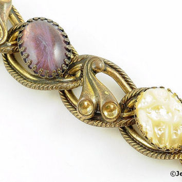 Chunky Link Bracelet Chain Baroque Pearl & Amethyst Art Glass Cabochons 60s Gold Tone