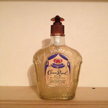 Soap dispenser made from a recycled 375ML Crown Royal liqour bottle