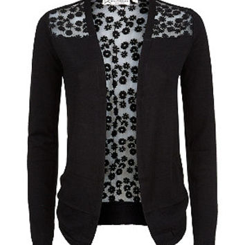 Black Floral Lace Back Open Front Cardigan