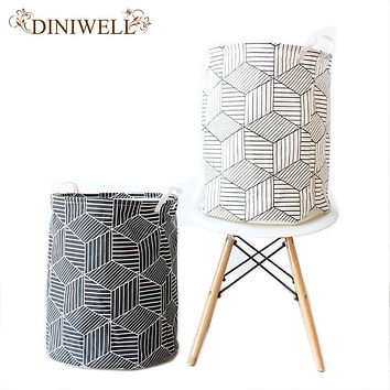 DINIWELL Round Laundry Hampers Basket Collapsible Linen Canvas Storage Bucket For Bedroom Or Closet