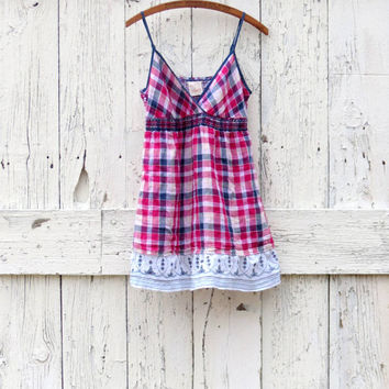 Eco Plaid Camisole Top upcycled spaghetti strap tank top , boho chic summer shirt , refashioned clothes berry blues size M L by wearlovenow