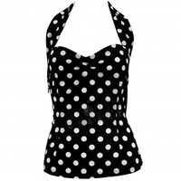 Chic Star Polka Dot Halter Top Rockabilly Retro Pin Up