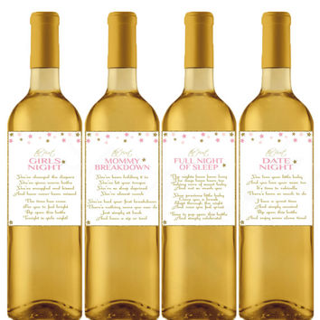 Baby Shower Wine Labels Gift New Mom Gift Wine Gift Basket Wine Lables Pink Gold Stars New Mommy Gifts Printable Wine Label Download STPG