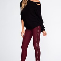 Lace Do It Right Pants - Burgundy