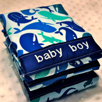 Personalized Burp Cloth Set - Baby Boy Dark Blue and Light Blue Zoo Animals