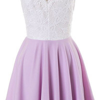 White Lace & Lavender Crepe Open Back Dress
