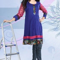 Blue Pin tuck Floral Embroidery Design Tunic Top Blouse For ladies | arayanaya - Clothing on ArtFire
