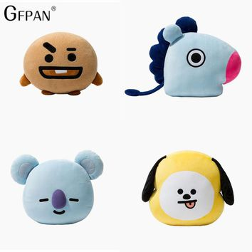 1pcs Bangtan Boys  BT21 Soft Plush Pillow Cushion Tata Van Cooky Chimmy Shooky Koya Rj Mang Gifts For Girls Friends Baby's Toy