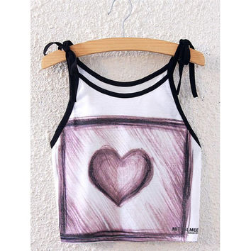 Fashionable Spaghetti Strap Sketch Design Heart Print Women's Tank Top