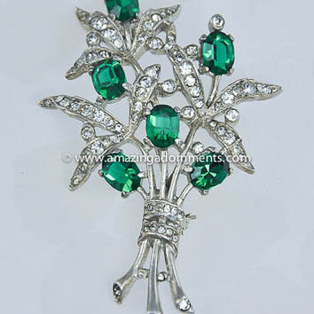 Vintage Signed CROWN TRIFARI 1940s Sterling and Rhinestone Flower Brooch