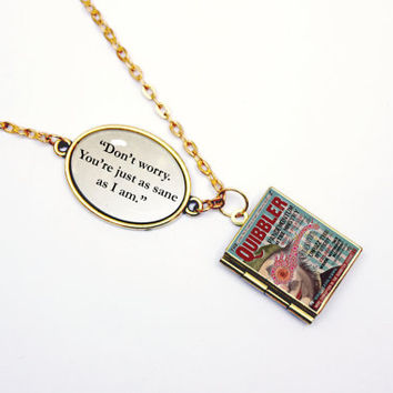 "Luna Lovegood ""Don't worry. You're just as sane as I am"" Quibbler Harry Potter Book Quote Locket Charm Necklace / Bracelet with Library Card"