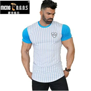 Men summer style Thin section T-shirt Fitness Bodybuilding T Shirt Slim fit Fashion Leisure Male Short cotton clothing Tee Tops