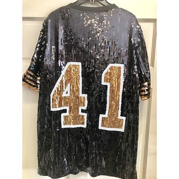 Black and Gold Sequin Numbered Jersey