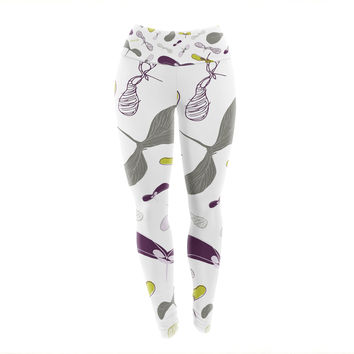 "Laurie Baars ""Mapleseeds Plum"" Yellow Purple Yoga Leggings"