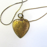 20% OFF SALE / vintage gold brass heart necklace / heart pendant