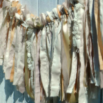 shabby wedding banner 6' - fall winter - rag tie bunting - christmas - baby shower - tea party - photo prop - blush rose gold peach cream