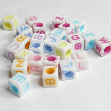 Alphabet Cube Acrylic Mixed Beads 6x6mm