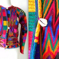 SUMMER SALE vintage 80s 90s colorful ETHNIC  tribal jacket by PasseNouveauVintage