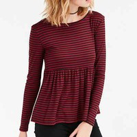 Kimchi Blue First Date Long-Sleeve Peplum Tee - Urban Outfitters