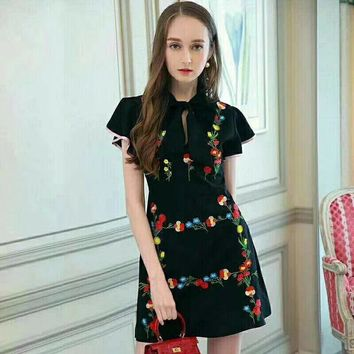 """D&G"" Temperament Elegant Fashion Multicolor Flower Embroidery Bow Hollow Frills Short Sleeve Mini Dress"