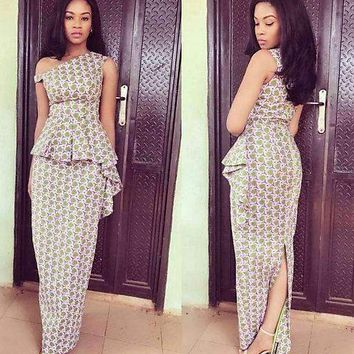 Off-Shoulder Ankara Maxi Dress with Cascading