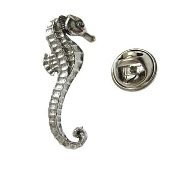 Silver Toned Textured Sea Horse Lapel Pin
