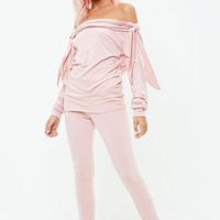 Missguided - Pink Bow Sleeve Co ord Set