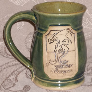 CUSTOM ORDER, Prancing Pony or Green Dragon, ceramic handmade mug, Lord of the Rings, Hobbit, Bree, Middle earth