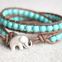 Blue Turquoise Magnesite Boho beaded leather wrap bracelet, 2x Wrap, Good Luck elephant, Chan Luu style, blue, green