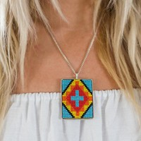 Seed Beaded Pendant Necklace