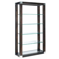 Allan Copley Designs Calligraphy 5-Tier Glass Shelf Wall Unit in Espresso w/ Brushed Stainless Steel Accents
