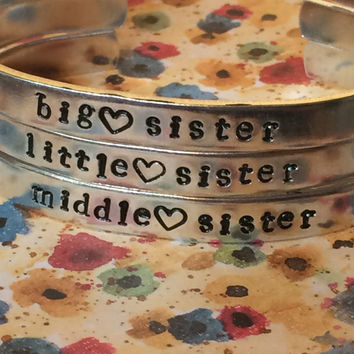 sisters bracelets/ bis sister/ little sister/ middle sister/ heart/ choose one or the three of them / aluminum handstamped bracelets