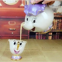 Cartoon Beauty and the Beast Teapot Mug Mrs Potts Chip Tea Pot Cup One Set Ceramic Tea Set Lovely Creative Xmas Gift Fast Post
