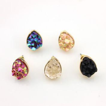Rock Crystal Druzy Earrings Hot New Fashion Jewelry Crystals Druzy Button Stud Earrings for Women