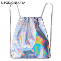 Women Hologram Backpack Silver Drawstring School Bag For Teenagers Student Women's Laser Holographic Bag Sack package   Bag