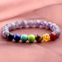 Natural Amethyst 8mm Stone Beads Plus The 7 Chakra Color Stones, Healing, Yoga, Prayer Beads
