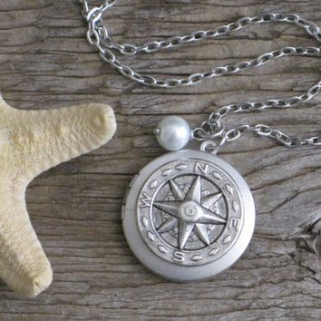 The Northern Route Unique Antique Silver Nautical Compass Locket with Faux Pearl Drop Necklace