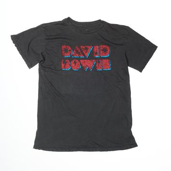 David Bowie Lightning Bolt Men's Crew - Vintage Black