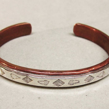 Pat Skyking Sterling Copper Cuff Bracelet Native American