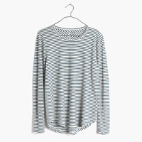 Whisper Cotton Long-Sleeve Crewneck Tee in Hardy Stripe : | Madewell