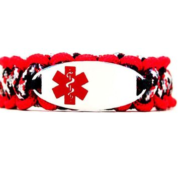 275 Paracord Bracelet with Engraved Oval Stainless Steel Medical Alert ID Tag