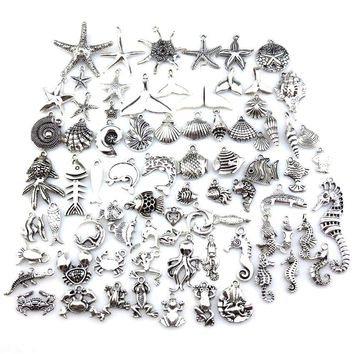 GLOWCAT 21686 Vintage Silver Tone Starfish Mermaid Conch Design Charms Fashion DIY Necklace Pendants Women Unisex Jewelry Making
