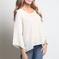 Umgee High Low Bell Sleeve Top with Back Lace Detail