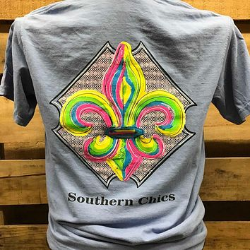 Southern Chics Apparel Watercolor Fleur De Lis Girlie Comfort Colors Bright T Shirt