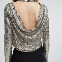 TFNC Sequin Crop Top With Cowl Back at asos.com