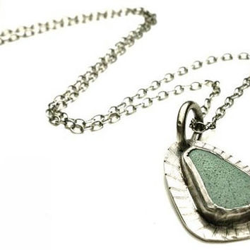 Beach Pottery Necklace Bezel Set in Sterling Silver